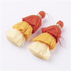Orange Nylon Tassels Big Pendant Decorations, Three Layers, Orange, 70x40mm