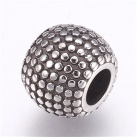 304 Stainless Steel European Beads, Large Hole Beads, Rondelle