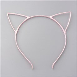 Pink Hair Accessories Iron Hair Band Findings, with Polyester Ribbon, Cat, Pink, 113~124mm