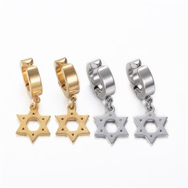 304 Stainless Steel Clip-on Earrings, Hypoallergenic Earrings, Hexagram