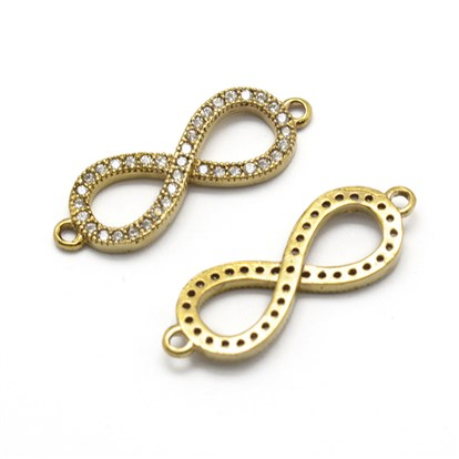 Brass Links, Micro Pave Grade AAA Cubic Zirconia, Infinity, Nickel Free