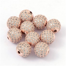 Brass Cubic Zirconia Beads, Round, 10mm, Hole: 2mm