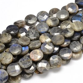 Flat Round Natural Labradorite Bead Strands, Faceted