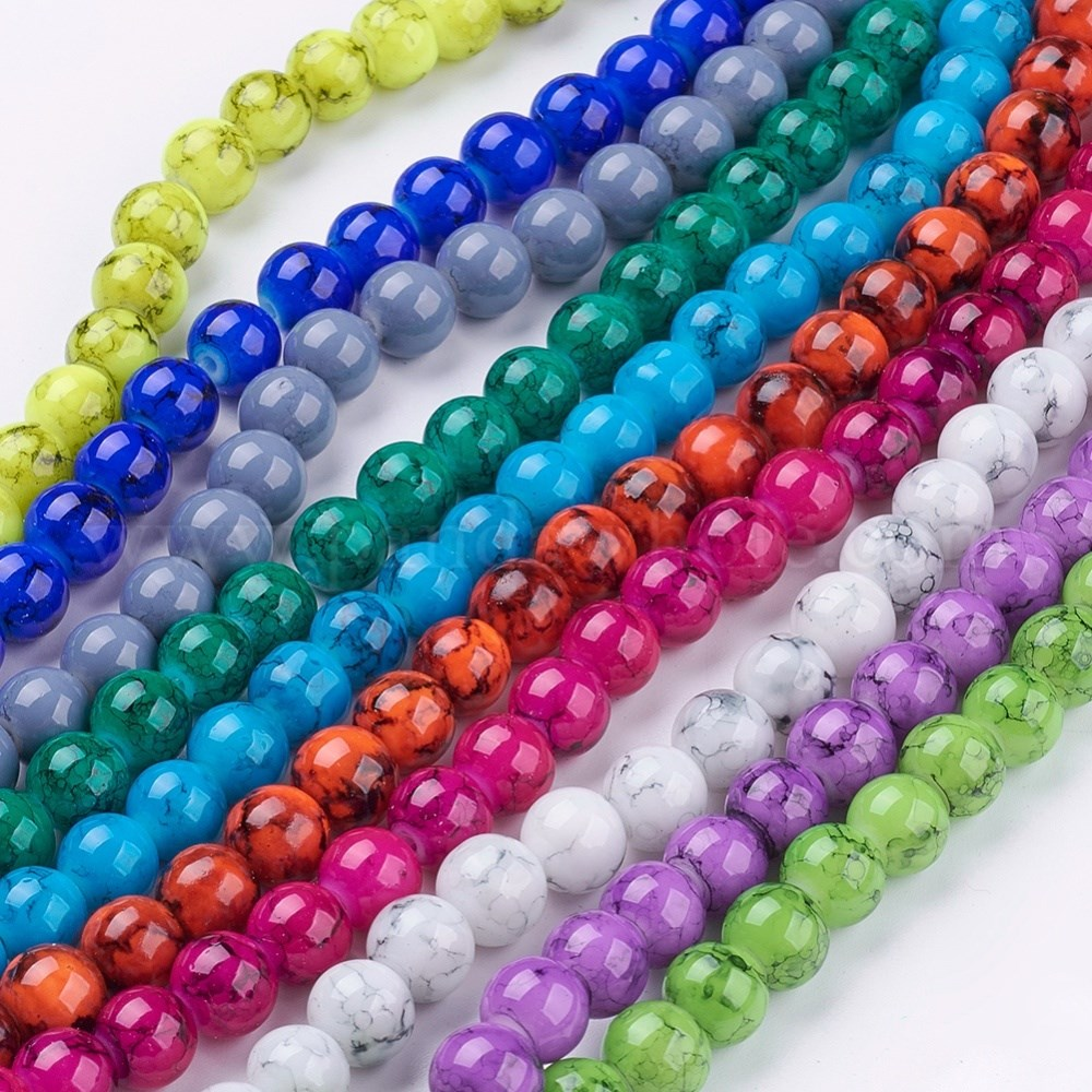 100 pcs Round Crackle Glass Beads Mixed Color Jewelry Making 8mm Hole 1.3~1.6mm