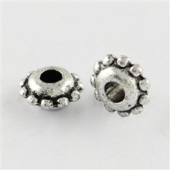 Antique Silver Antique Acrylic Spacer Beads, Flat Round, Antique Silver, 8.5x4mm, Hole: 3mm; about 4260pcs/500g