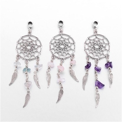 Alloy European Dangle Beads, Dreamcatcher, with Natural Gemstone Beads, Antique Silver-1