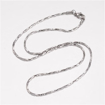 304 Stainless Steel Necklace Makings, Coreana Chains, with Lobster Claw Clasps, Twisted-1