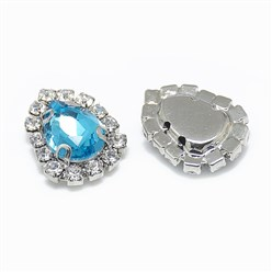 Aquamarine Sew on Rhinestone, Glass Rhinestone, with Platinum Tone Brass Prong Settings, Garments Accessories, Drop, Aquamarine, 14.5x11x5mm, Hole: 0.8mm