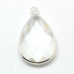 Clear Silver Tone Brass Glass Drop Pendants, Faceted, Clear, 18x10x5mm, Hole: 2mm