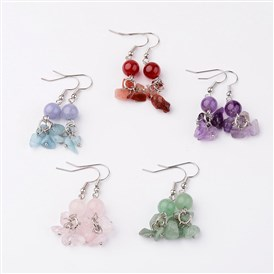 Natural Gemstone Dangle Earrings, with Platinum Tone Brass Earring Hook, 42mm; Pin: 0.7mm
