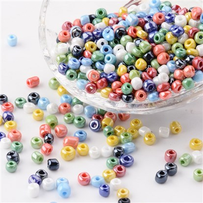 6/0 Glass Seed Beads, Opaque Colors Lustered, Round, 4mm, Hole: 1.5mm; about 4500pcs/pound