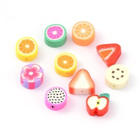 Mixed Fruit Theme Handmade Polymer Clay Beads, 9~13x9~11x4~5mm, Hole: 1~2mm