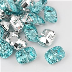 PaleTurquoise Taiwan Acrylic Rhinestone Buttons, Faceted, 1-Hole, Rectangle, PaleTurquoise, 30x21x10.5mm, Hole: 2mm