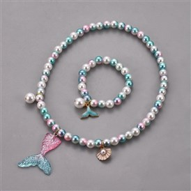 Plastic Imitation Pearl Stretch Bracelets and Necklace Jewelry Sets, with Mermaid Tail Shape Resin Pendants and Alloy Enamel Pendants, Whale Tail Shape, Shell