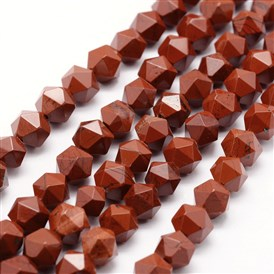 Natural Red Jasper Beads Strands, Star Cut Round Beads, Faceted