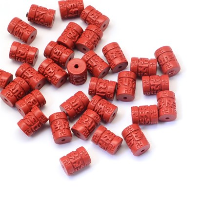 Column Cinnabar Beads, 8x11~2mm, Hole: 1~2mm