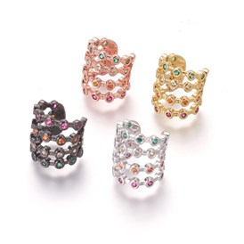 Cubic Zirconia Cuff Earrings, with Brass Findings, Colorful