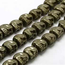 Electroplated Natural Pyrite Beads Strands, Skull, Dyed