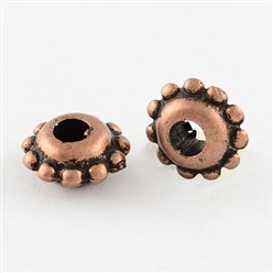 Red Copper Antique Acrylic Spacer Beads, Flat Round, Red Copper, 8.5x4mm, Hole: 3mm; about 4260pcs/500g