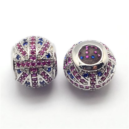 CZ Jewelry Brass Micro Pave Cubic Zirconia European Beads, Cadmium Free & Nickel Free & Lead Free, Large Hole Rondelle Beads, the Union Flag, 12x10mm, Hole: 4.5mm-1