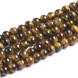 Natural Tiger Eye Beads Strands, Round