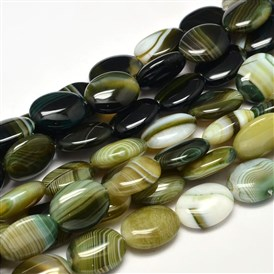 Dyed Oval Natural Agate Bead Strands