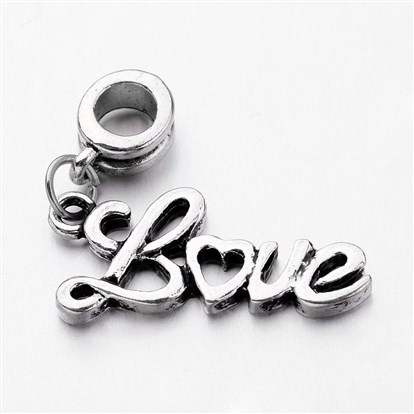 "Alloy European Dangle Beads, Large Hole Beads, Word ""Love""-1"