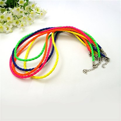 "Fashion PU Leather Necklaces Making, with Brass Lobster Claw Clasps, 17.5""-1"