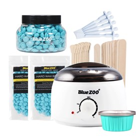 Waxing Kit Depilatory 500CC Hot Wax Hair Removal Machines, with Hard Wax Beans & Aluminum Melting Wax Bowl Films & Mask Wax Applicator Sticks
