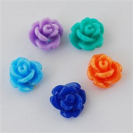 Resin Cabochons, Flower, 8x4mm
