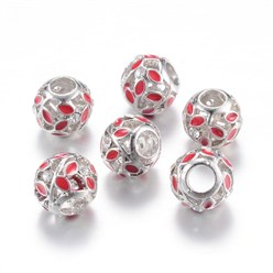 FireBrick Alloy Enamel European Beads, Rhinestones, Large Hole Beads, Rondelle with Leaf, Silver, FireBrick, 11x9~9.5mm, Hole: 4mm