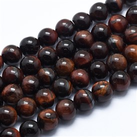 Natural Tiger Eye Bead Strands, Dyed & Heated, Round, Grade AB