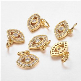 CZ Brass Micro Pave Cubic Zirconia Evil Eye Charms