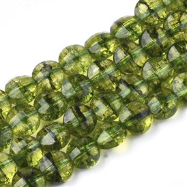 Natural Peridot Beads Strands, Dyed, Faceted, Flat Round