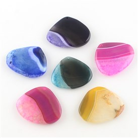Dyed Drop Natural Crackle Agate Pendants, 42~46x48~54x7~10mm, Hole: 2mm