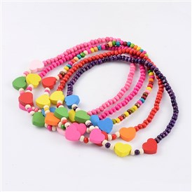 Lovely Heart Wood Beaded Kids Necklaces, 16 inches