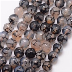 Black Natural Dragon Veins Agate Bead Strands, Round, Grade A, Faceted, Dyed & Heated, Black, 8mm, Hole: 1mm; about 47pcs/strand, 15""