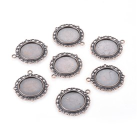 Zinc Alloy Pendant Settings for Cabochon & Rhinestone, DIY Findings for Jewelry Making, Lead Free and Cadmium Free, Flat Round, 35x32x2mm, hole: 2mm, Tray: 20mm