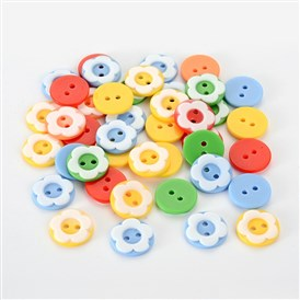 Dyed Resin Buttons, Flat Round with Flower Two-hole Buttons, 13x2mm, Hole: 2mm