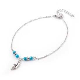 Synthetic Turquoise Charms Anklets, with Tibetan Style Alloy Pendants, 304 Stainless Steel Findings and Iron Eye Pin, Leaf