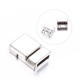 Alloy Magnetic Clasps, Nickel Free, Rectangle, 21x14x6mm, Hole: 2.7x10mm