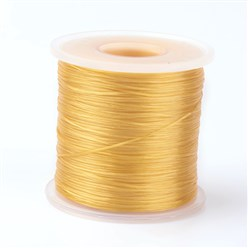 Gold Japanese Flat Elastic Crystal String, Elastic Beading Thread, for Stretch Bracelet Making, Gold, 0.5mm; about 300m/roll