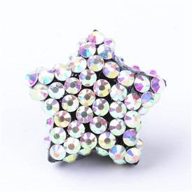 Resin Buttons, with Rhinestones, Star