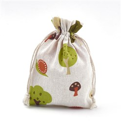 Colorful Polycotton(Polyester Cotton) Packing Pouches Drawstring Bags, with Printed Tree, Colorful, 18x13cm