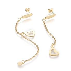 304 Stainless Steel Stud Earrings, Hypoallergenic Earrings, Asymmetrical Earrings, with Cable Chains and Ear Nuts, Heart