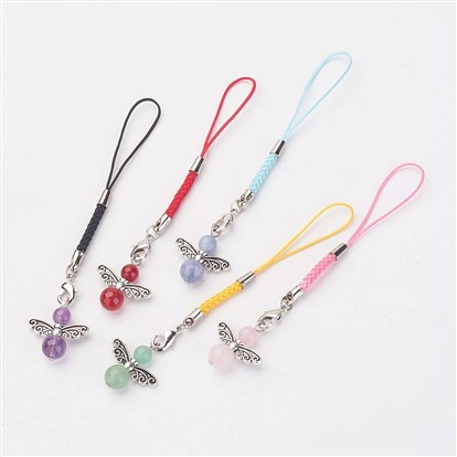 Angel Gemstone Pendant Mobile Straps, Cord Loop with Alloy Findings, Nylon Cord, Brass Lobster Claw Clasps