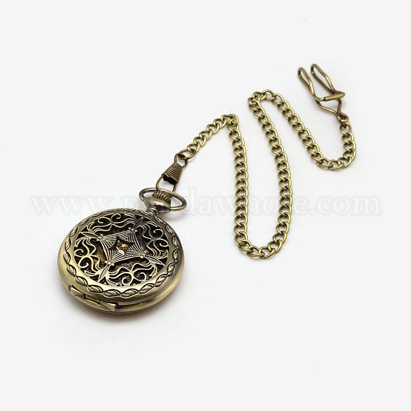 bc47eeaf4e Steampunk Jewelry Hollow Alloy Flat Round Pendant Mechanical Pocket  Watches, with Iron Twisted Chains, 435mm
