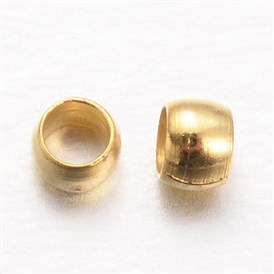 Rondelle Brass Crimp Beads, 2x1mm, Hole: 1mm; about 10000pcs/100g