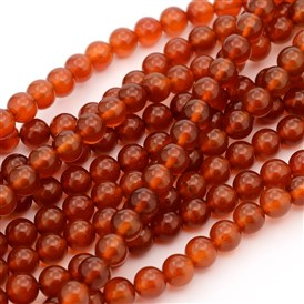 Gemstone Beads Strands, Natural Carnelian, Dyed, Round, Red, 8mm, Hole: 1mm; about 49pcs/strand, 15~16