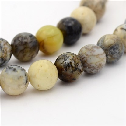 Natural Moss Agate Round Bead Strands-1